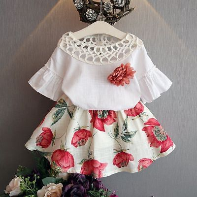 Cute Kids Baby Girls Lace T-shirt Tops+Floral Skirt 2pcs Outfits Clothes Set Summer Outfits Children Clothing Sets 2-7Y 2pcs children kids baby girls outfit sets chiffon t shirt tops shorts sleeveless summer outfits suit cute girls clothes sets