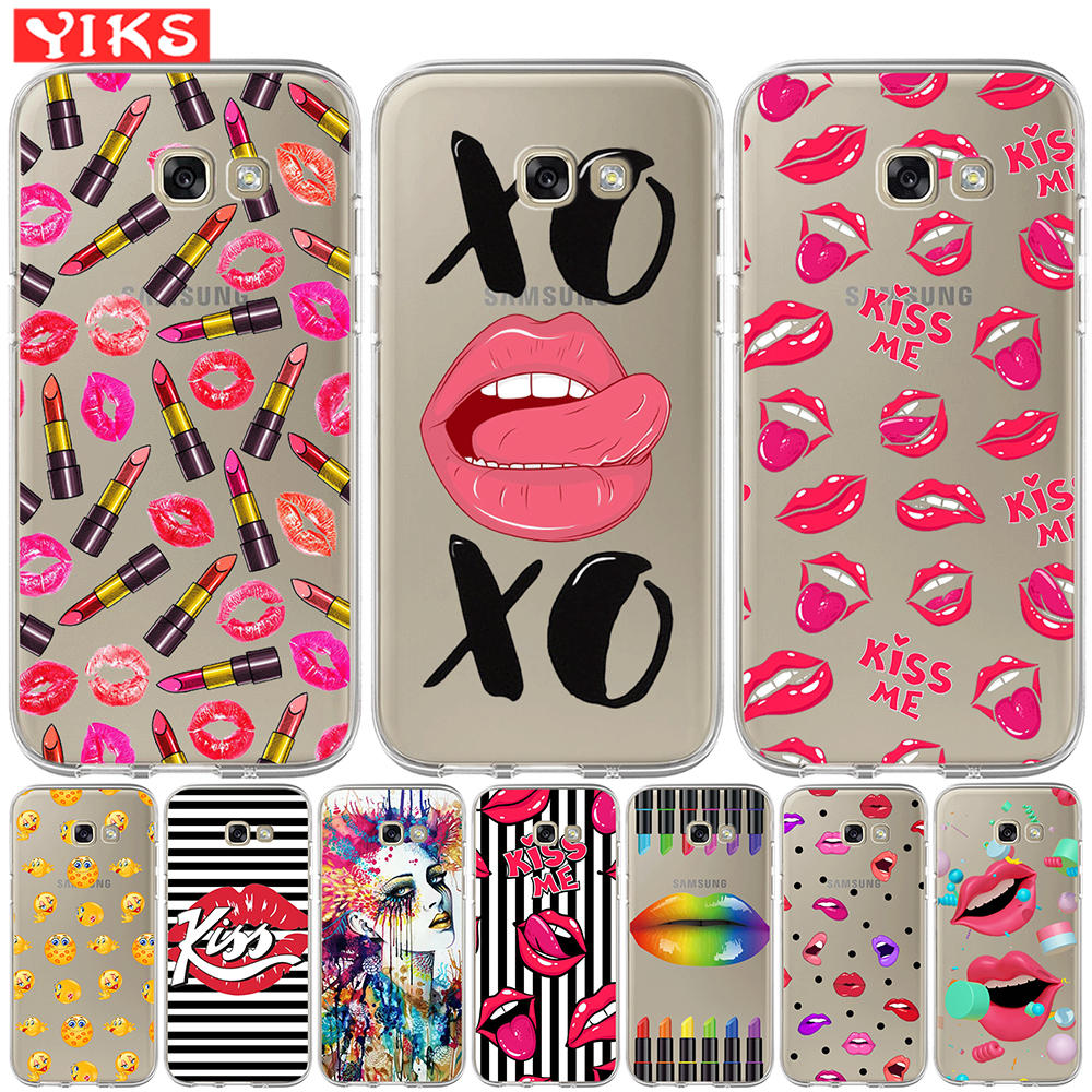 Cute Lips <font><b>Case</b></font> For <font><b>Samsung</b></font> A3 <font><b>A5</b></font> A6 A7 A8 2015 2016 <font><b>2017</b></font> Plus 2018 Soft Cover <font><b>Case</b></font> <font><b>Silicon</b></font> <font><b>Red</b></font> Kiss Lip Girls Soft Fundas Etui image