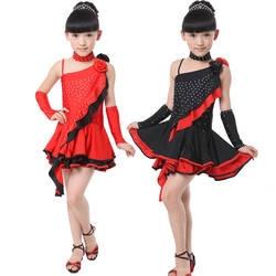 Обувь для девочек блестками Костюмы для латиноамериканских танцев Salsa Танцы платье Дети Костюмы для бальных танцев конкурс Одежда для
