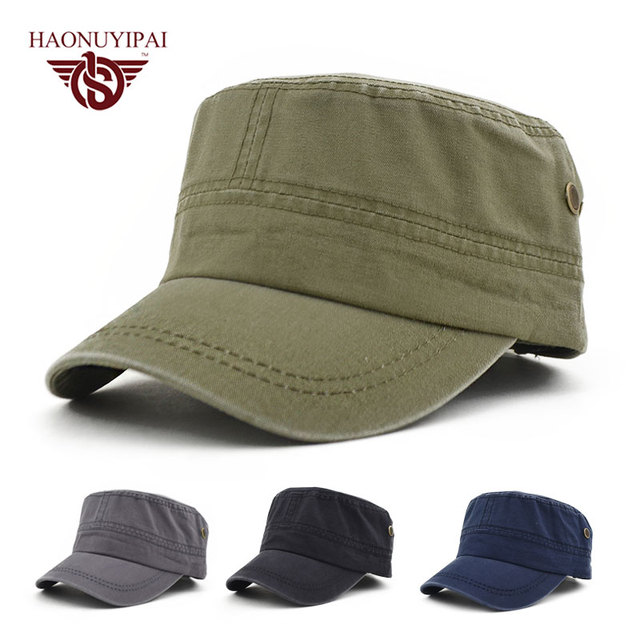 5623e143a08 New Arrivals Military Hats For Men Women Cotton Vintage Army Hat Snapback  Caps Adjustable Outdoor Sport Flat Top Cap Bone Gorro