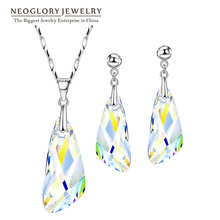 Sistemas de la Joyería de Neoglory MADE WITH SWAROVSKI ELEMENTS Con Aretes Collar Transparentes Para Las Mujeres 2016 Nuevos Regalos T1