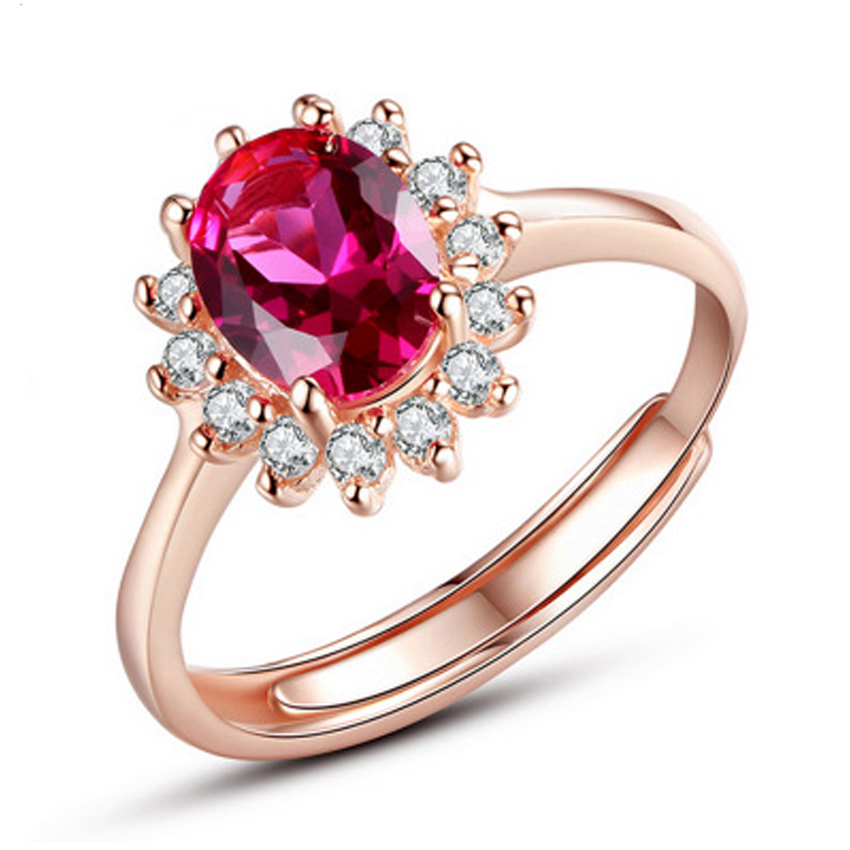 Red Stone Rings For Women Adjustable Cubic Zirconia Mid