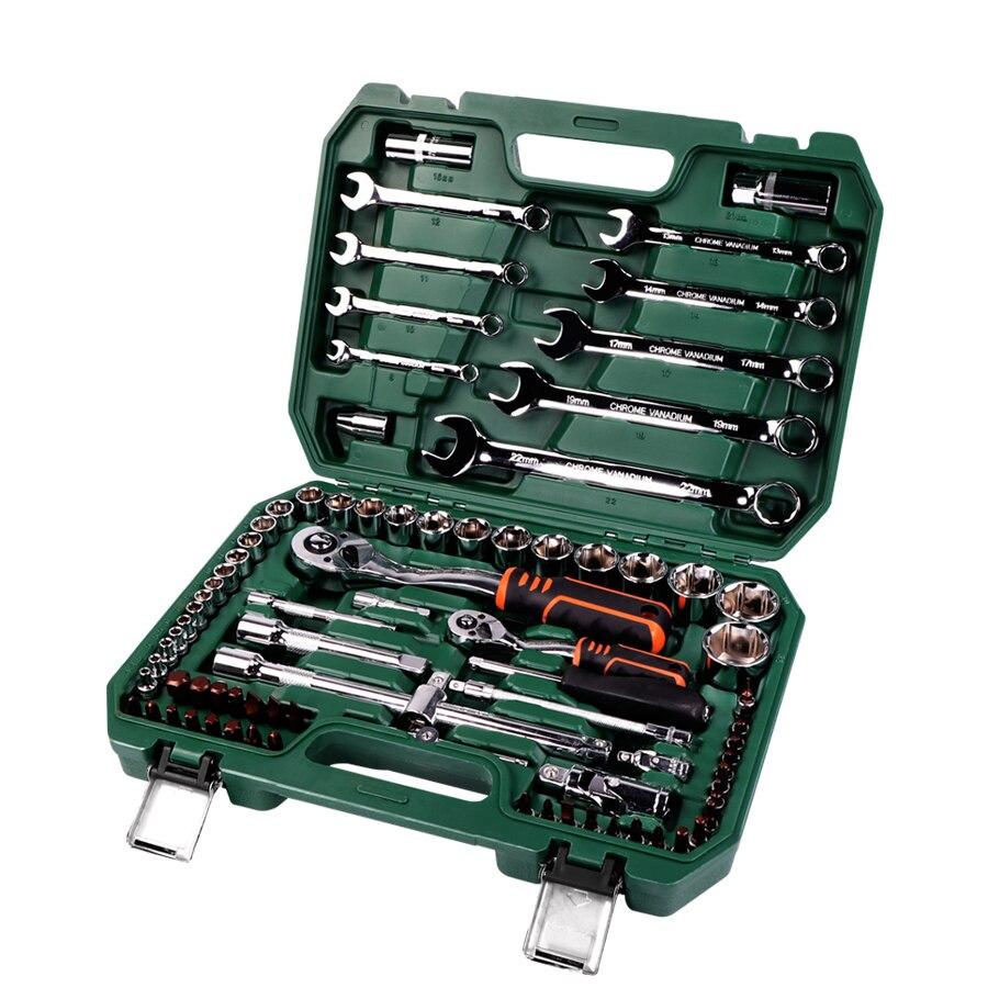 Herramientas de reparación de coches Juego de Herramientas mecánicas 121 piezas 150 Uds herramientas de llave de enchufe para Auto Llave de trinquete destornillador Juego de llaves hexagonales - 4