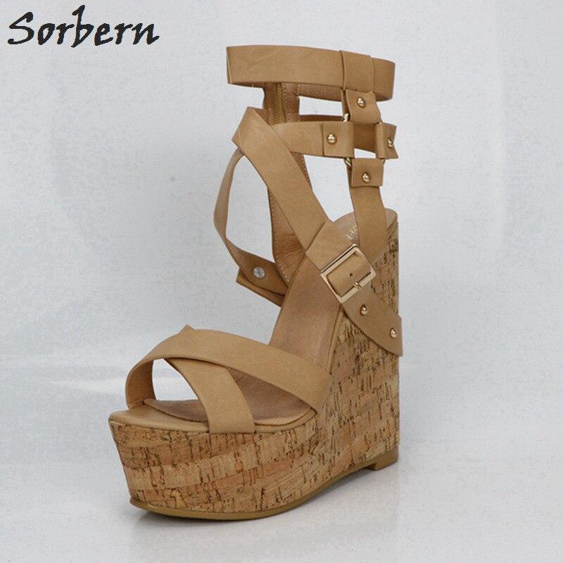 Sorbern Nu Plataforma Sandálias Cunhas Sapatos Para As Mulheres Sandálias Gladiador Das Mulheres Sapatos de Plataforma de Salto Alto Verão As Cores Personalizadas