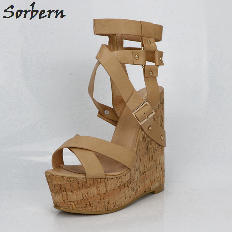 c964b432259 Sorbern Nude Platform Sandals Wedges Shoes For Women Gladiator Sandals  Women Platform Shoes High Heels Summer Custom Colors -in High Heels from  Shoes on ...