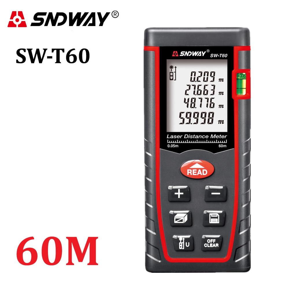 Genuine SNDWAY 60 m telemetro laser Digitale RZ60 197ft distance meter range finder Area-volume-Angolo Tester strumento