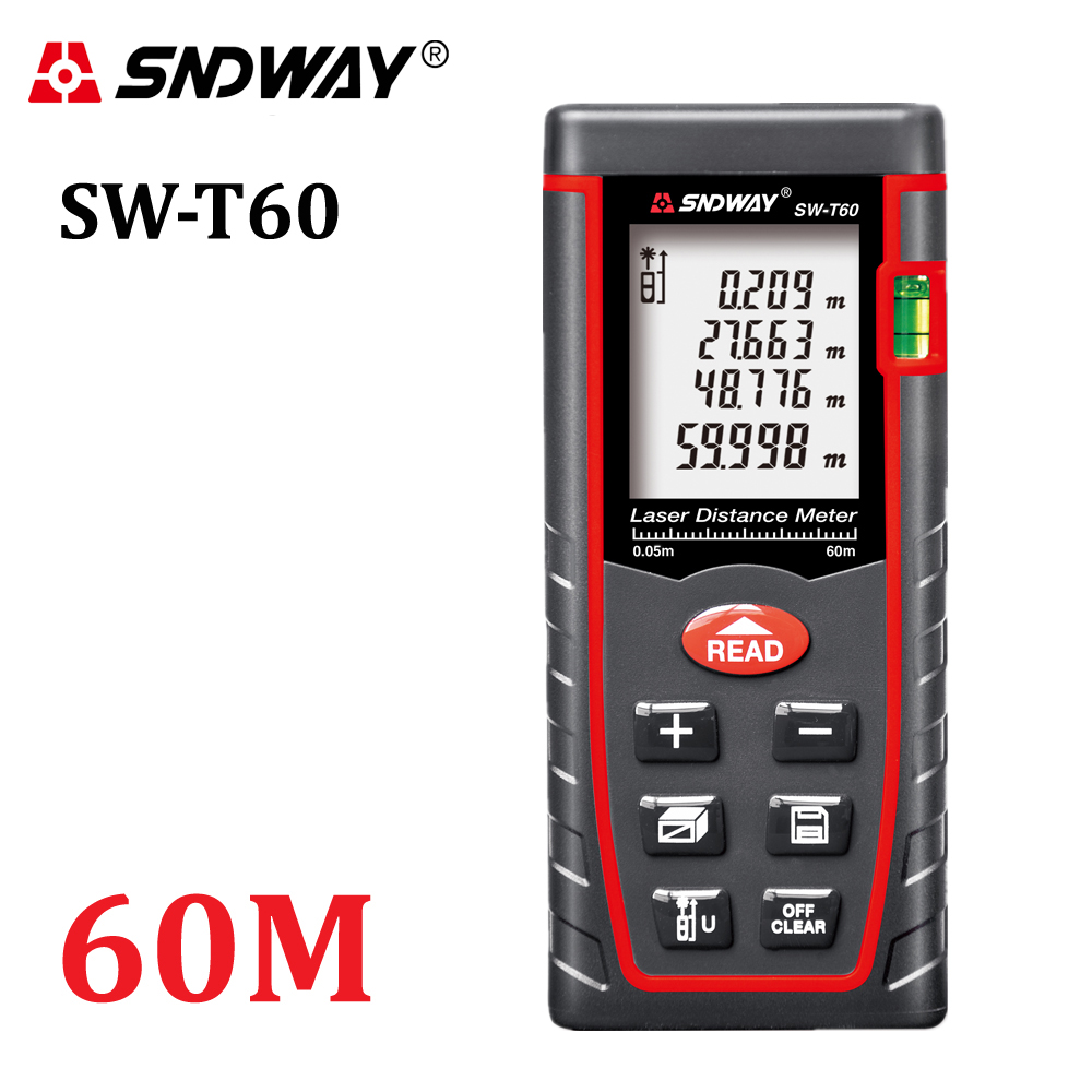Genuine SNDWAY 60m Digital laser rangefinder RZ60 197ft distance meter range finder Area-volume-Angle Tester tool digital laser rangefinder rz60 197ft distance meter range finder area volume angle tester tool new hot home decoration genuine