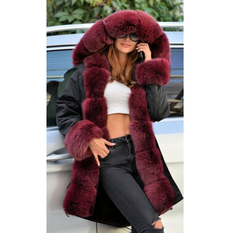 Fourrure Avec Femmes Vestes Noir Fashion Réel Naturel Renard Parkas Rouge Manteau Manteaux Nouveau Col Vin High Ckmorls De Fox Street RpwIq