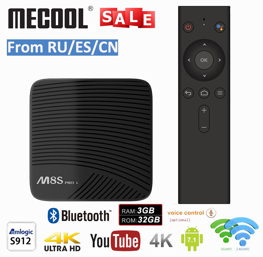MECOOL M8S PRO L Android 7.1 Amlogic S912 TV BOX commande vocale 4 K Streaming 3 GB 16 GB/32 GB lecteur multimédia 4 K HD WIFI Smart TV BOX soutient IPTV