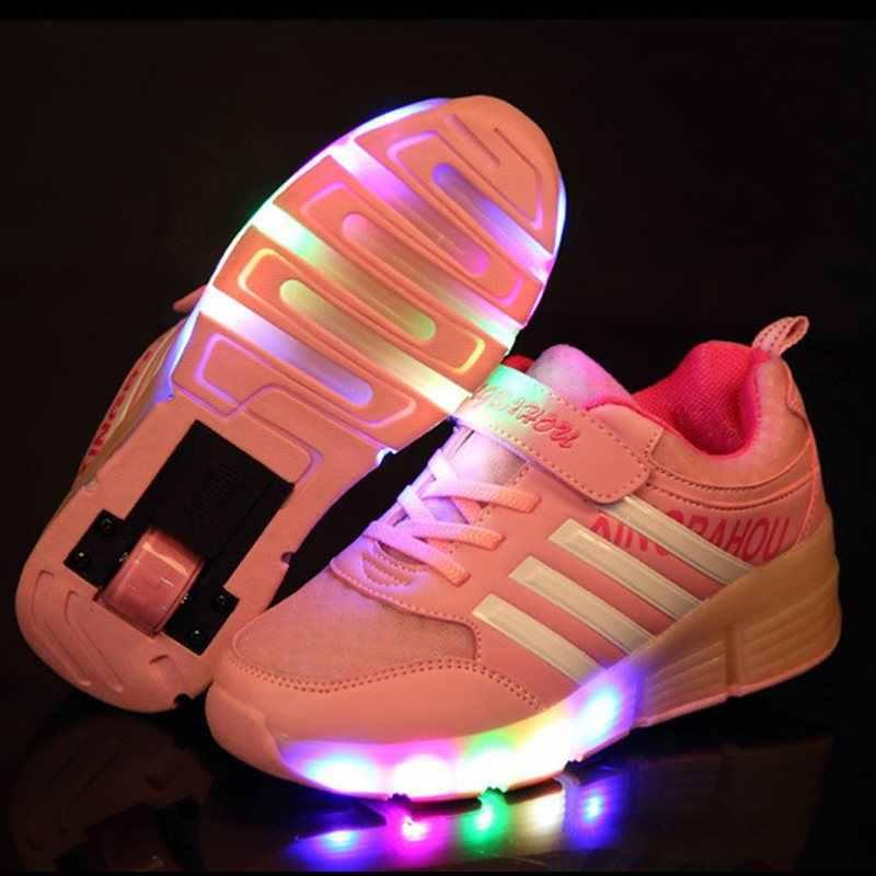 3b672c6e Повседневное Детские светящиеся кроссовки с колесиками обувь Детские  кроссовки Светящиеся мальчиков и девочек ролик Лето chaussure