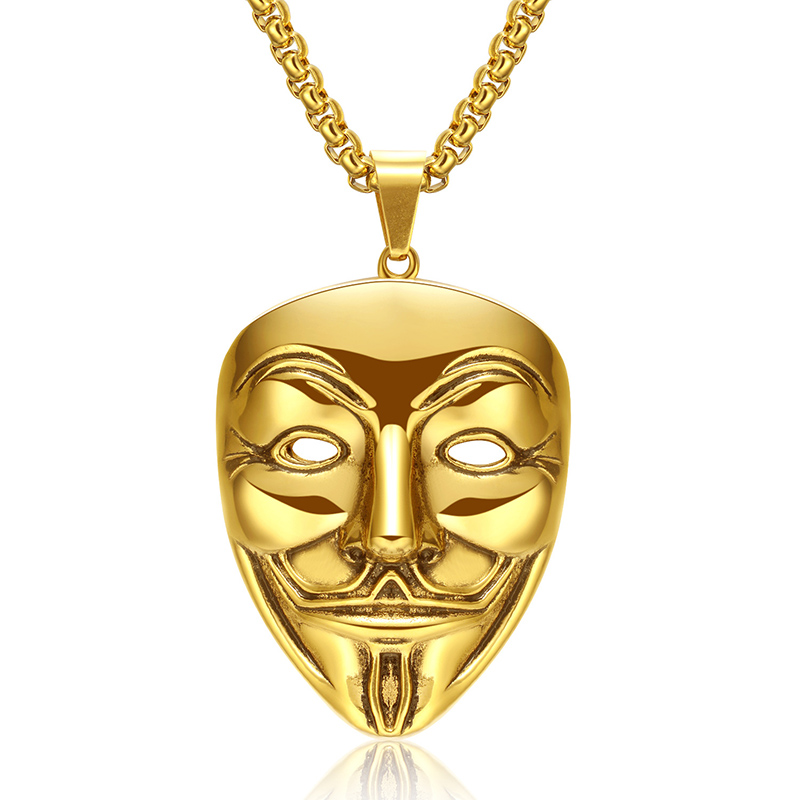 "Hip Hop Rock Gold Color Stainless Steel V for Vendetta Clown Mask Men Pendant Necklace Jewerly with 24"" Chain"