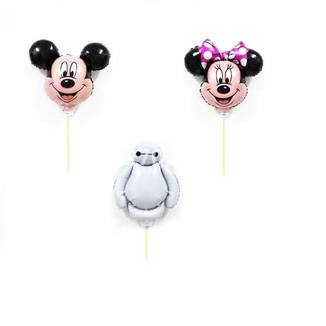 New Mickey Minnie Foil Balloons For Happy Birthday Decorations Party Supplies Air Balloon Stick Wholesale Baymax