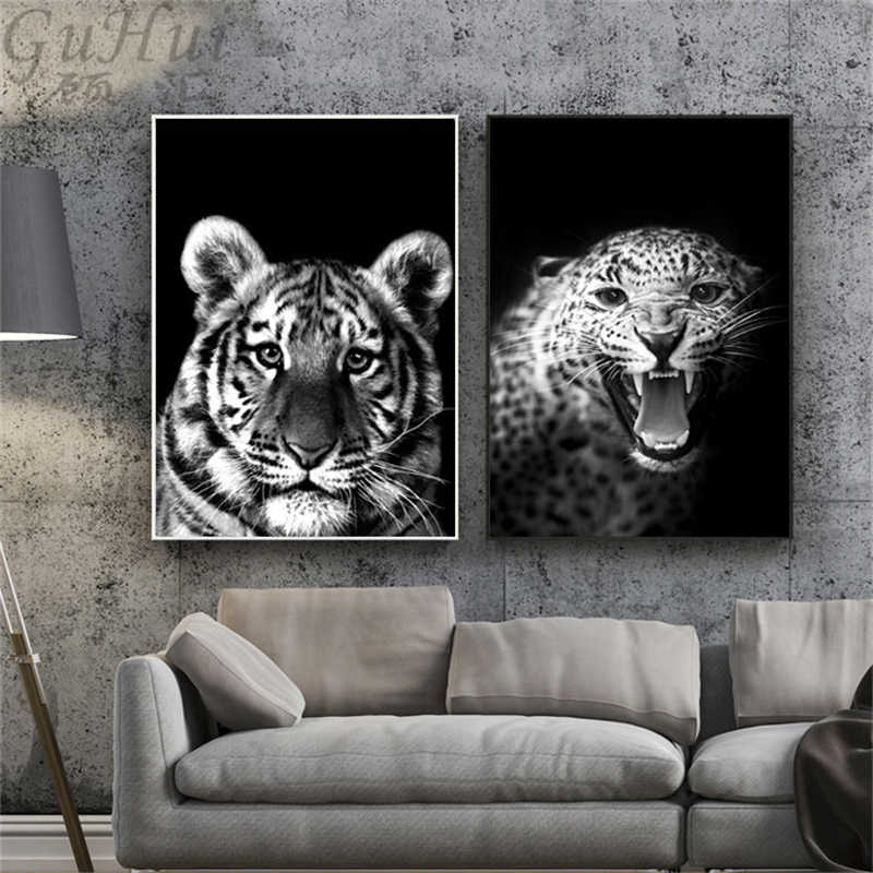 Modern Black and White Africa Jungle Wild Animal Lion Tiger Leopard Canvas Painting Living Room Wall Picture Decoration Poster