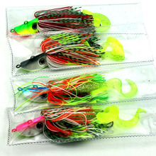 4pcs 40g big lead head buzzbaits soft rubber fishing lures octopus squid hook fishing baits bass pike isca pesca fishing tackles