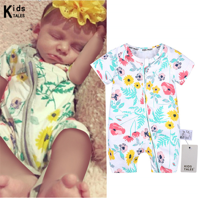 2018 New fashionable clothes for kids boys and girls overalls summer flower baby rompers infant bebe clothing for sale