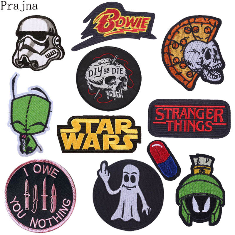 Prajna Star Wars Patch Embroidered Iron On Patches For Clothes Stranger Things Patch diet pill Jurassic World Pride Patch Stripe(China)