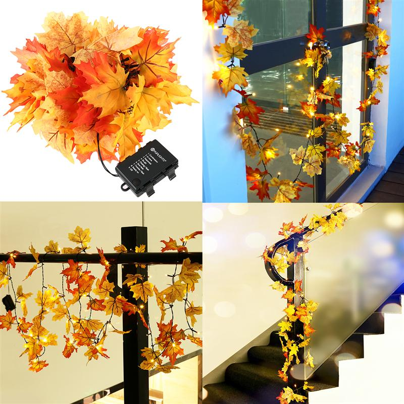 4.5M Fairy String Lights Waterproof 40 LED Maple Leaves Lights with 8 Modes Battery Operated