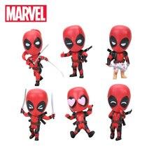 Ny 10cm Marvel Leksaker Deadpool Figur Bobble-Head 1/10 Skala Målade Wade Winston Wilson Superhero Collectible Modell Dolls Toy