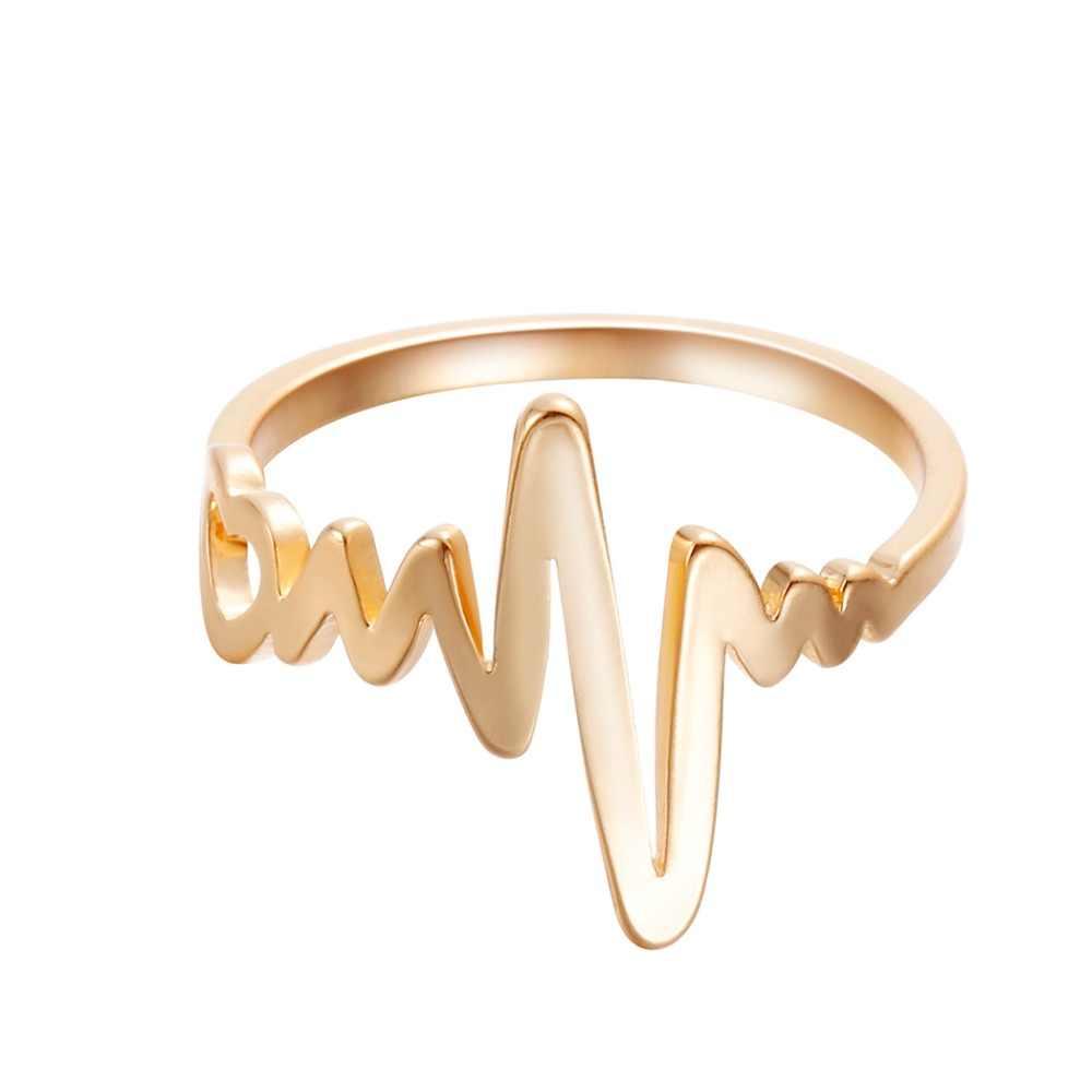 Màu vàng Trái Tim Đánh Bại Nhẫn đối với Phụ Nữ Geometric ECG Điện Tâm Đồ Nhẫn Fashion Party Knuckle Đồ Trang Sức bagüés femme