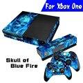 Горячих Голубых SkullFire Всего тела Наклейка Стикера Кожи Протектор Для Microsoft Для Xbox one Console Controller Anti-Dust Durable
