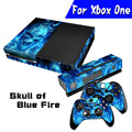 Hot Blue SkullFire Full body Decal Skin Sticker Protector For Microsoft  For Xbox one Console Controller Anti-Dust Durable