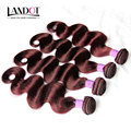 Burgundy Indian Virgin Hair Body Wave 4Pcs Lot Grade 6A Wholesale Wine Red Indian Remy Human Hair Weave Extensions Tangle Free