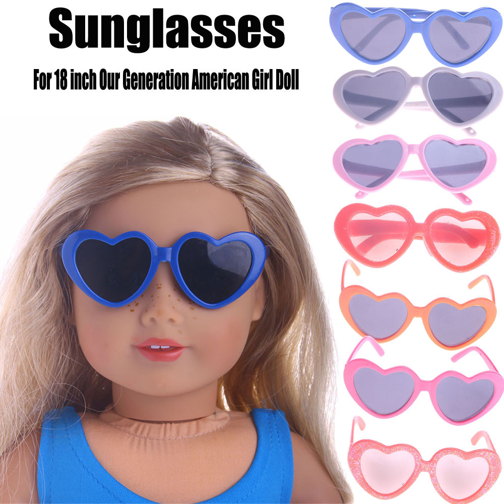 Heart Plastic Frame Sunglasses For 18 inch Our Generation American Girl Doll glitter doll shoes star dress shoe for 18 inch our generation american girl doll