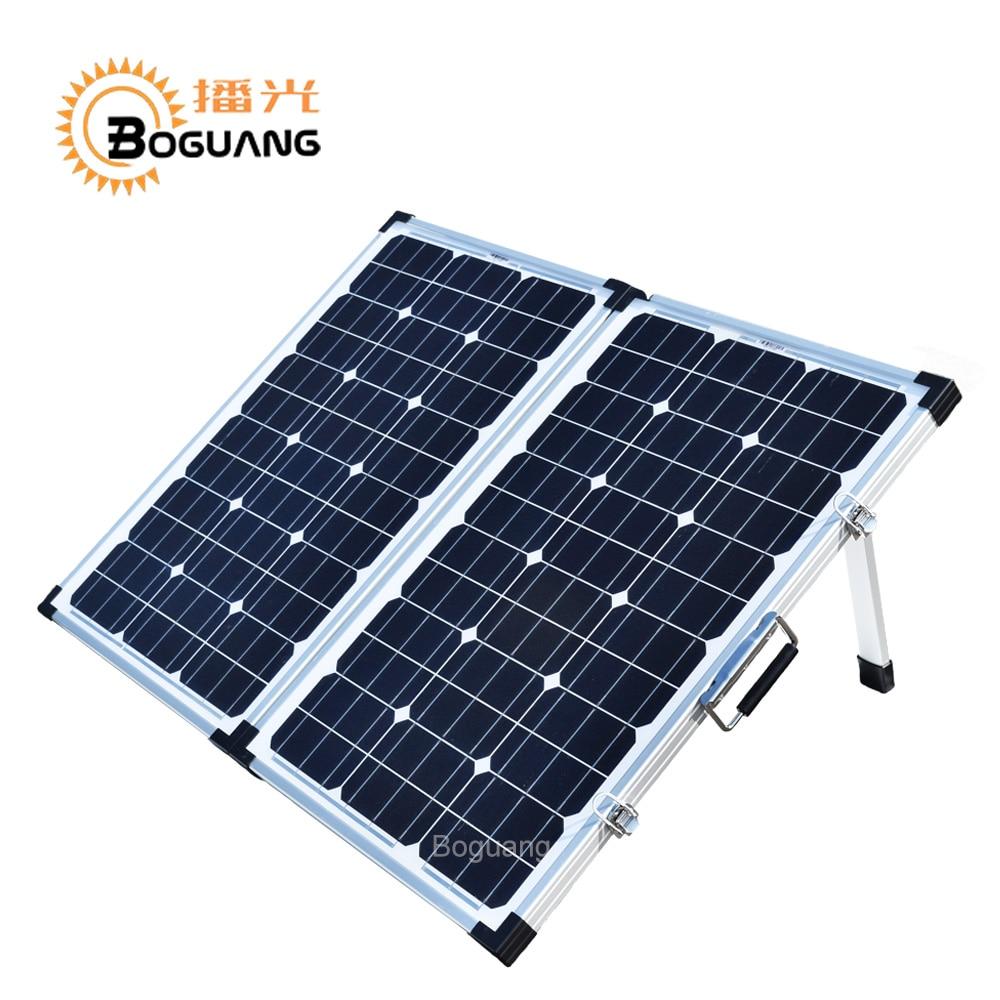 Boguang pliage 120 W (2 Pcs x 60 W) Pliable Panneau Solaire Chine 18 V + 10A 12 V/24 V Contrôleur Panneaux Solaire portable 100 W Système Chargeur