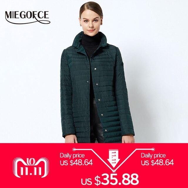 2018 Тонкий женский плащь длинное женское пальто весеннее ветрозащитное пальто длинное женское пальто новый дизайн MIEGOFCE ходовой (популярный) товар