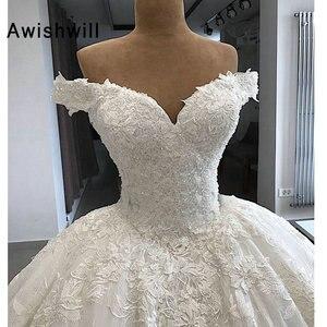 Image 4 - Роскошные свадебные платья Vestido de Noiva 2020 Пышное Бальное Платье с рукавом крылышком арабское кружевное свадебное платье принцессы
