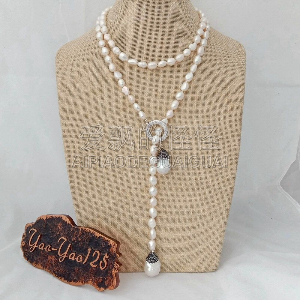 N051111 40 collier de boucle Baroque blanche Keshi perle CZ pendentifN051111 40 collier de boucle Baroque blanche Keshi perle CZ pendentif