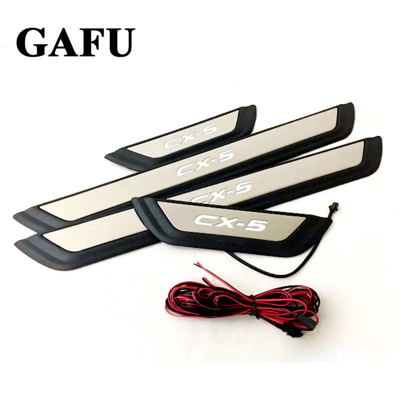 FIT For Mazda CX 5 Cx5 2018 2017 LED LIGHT Door Sill Scuff Plate Welcome Pedal Stainless Steel Car Styling Car Accessories in Chromium Styling from Automobiles Motorcycles