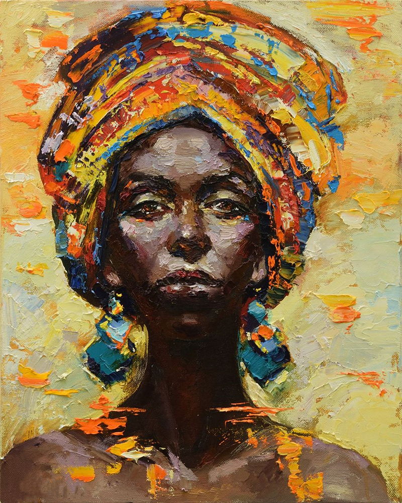 Oil Art Abstract Portraits Black Woman Canvas Picture