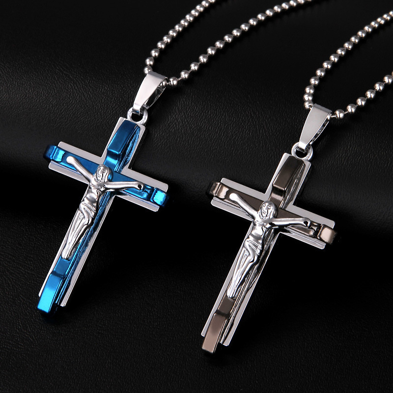 2018 New Cross Necklace For Men And Women Pendant Jesus Cross Necklace Couple Necklace Jewelry 50cm Beads Chain Gifts
