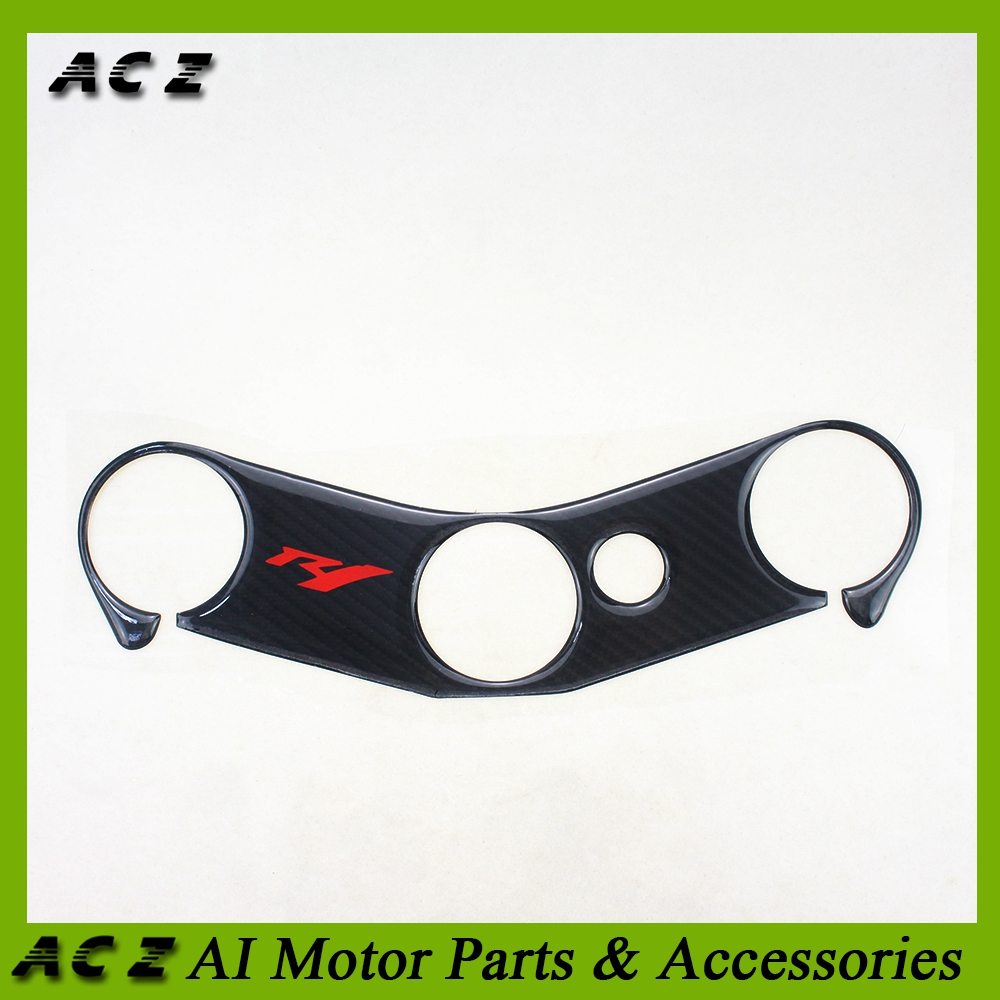 3D Carbon Fiber Sticker Decal Emblem Protector Top Clamp Triple Tree Pad For Yamaha YZF R1 2004-2006