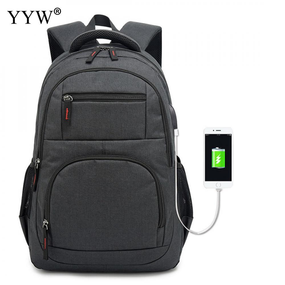 USB téléphone sac à dos hommes sac à dos pour ordinateur portable en toile grand voyage sacs d'école mâle noir gris hommes de haute qualité sacs à livres simples - 3