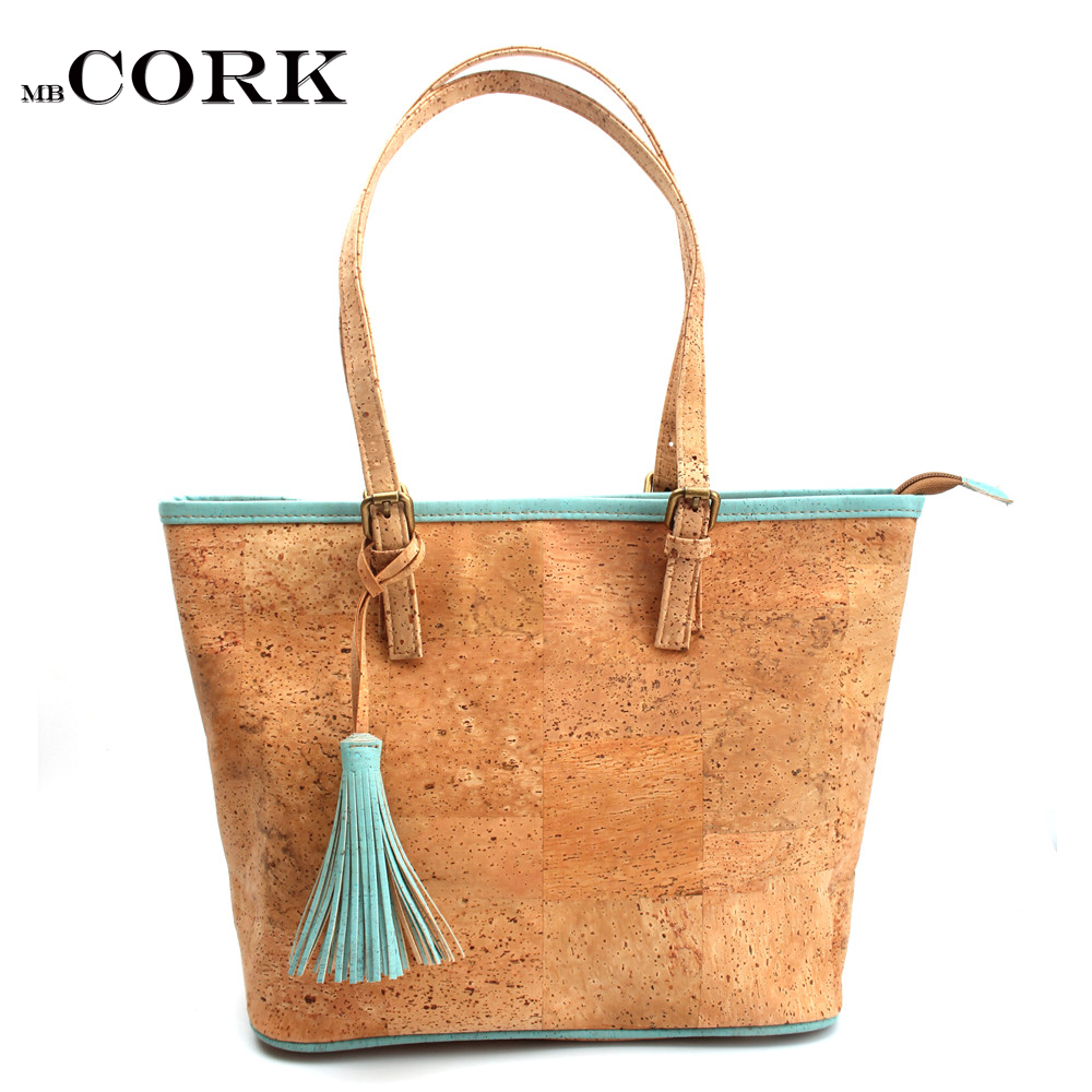 Cork Handbags: Natural Cork With Sky Blue Tassel Women Handbag Original