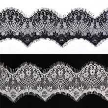 3Meters/Lot Eyelash Lace Ribbon Voile Width/10cm Embroidered White Black Shiny Fabric Sewing Applique Wedding Decoration