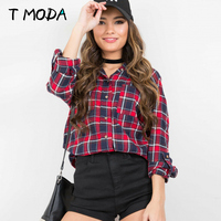 2017 Autumn Casual Red Plaid Double Pockets Long Shirt Women Loose Button Office Blouse Girls Fashion