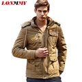 LONMMY M-4XL Bomber jacket men Velvet Thick Warm Hooded Cotton jaquetas Hoodies military jacket men Casual 2016 Mens coats