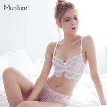 Munllure 2019 świeża i elegancka ultra cienka bawełna wygodna miękka gaza koronkowa bielizna damska biustonosz komplet