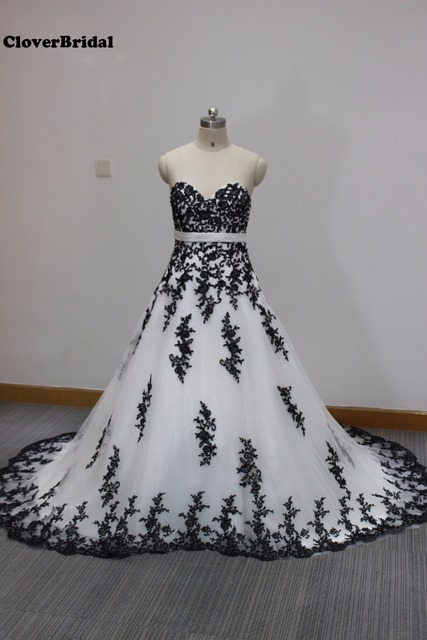 Actual pieces black lace appliques white tulle sweetheart A line ...