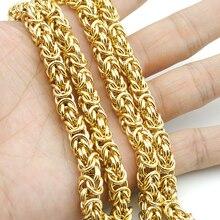 AMUMIU Calidad Superior 7mm Enorme y Pesada Cadena de Oro Enlace Collar de Cadena Larga Cuerda de Acero Inoxidable de Los Hombres Al Por Mayor KN010