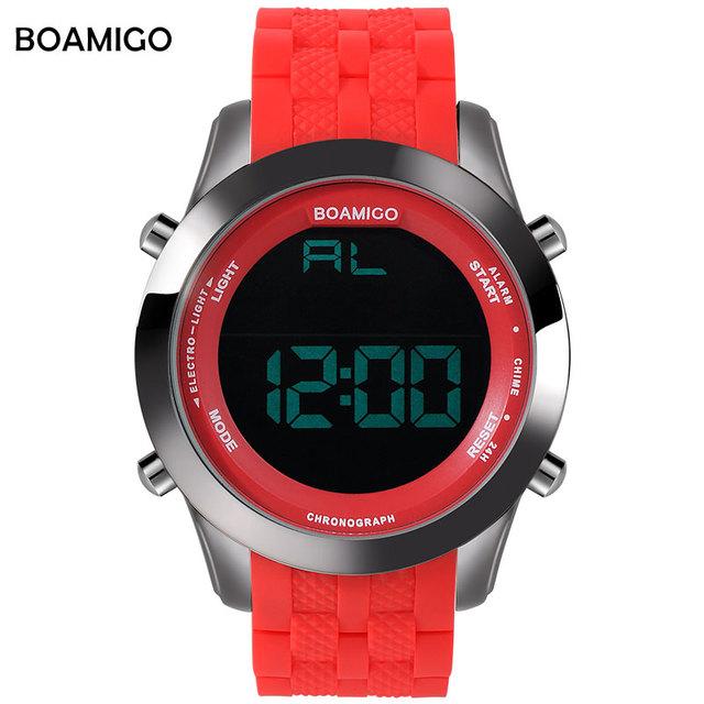 Esportes homens relógios dos homens relógios display led digital rubber band assista boamigo relógio 30 m à prova d' água relógios de pulso marca de moda vermelho