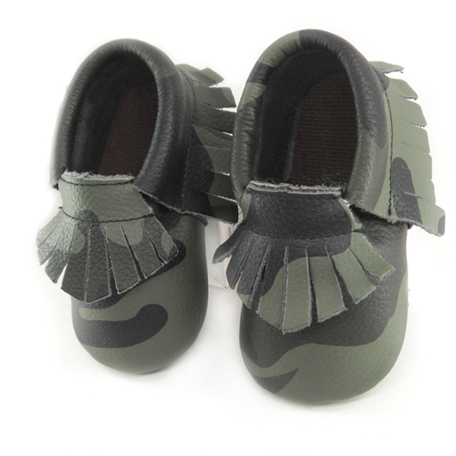 Green Camouflage baby moccasins genuine leather First Walkers Soft Baby boy shoes tassels infant Fringe Shoes 0-30 month