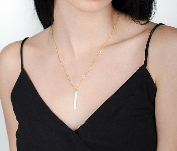 Collier Initial personnalisé Bar collier demoiselle d'honneur cadeau lettre collier femmes 925 bijoux en argent cadeau pour son pendentif