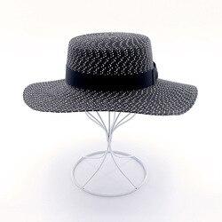 Muchique fashion boater hats paper braid summer sun hats vintage black beach hats for women.jpg 250x250