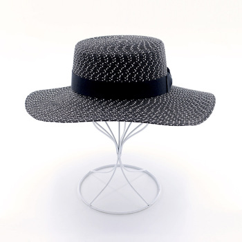 Muchique fashion boater hats paper braid summer sun hats vintage black beach hats for women.jpg 350x350
