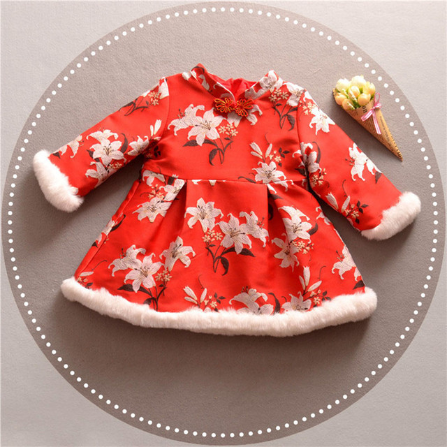 Chinese Style Traditional Girls Winter Dress Child Print Tang dress Cheongsam Dresses Baby Qipao For New Year Dresses 2018