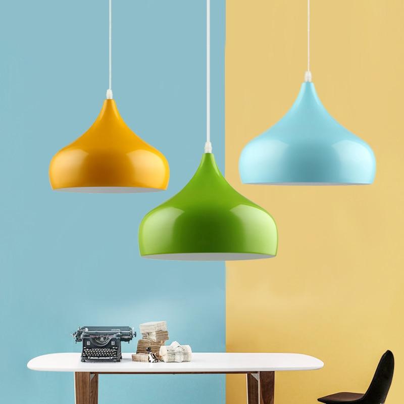 Modern fashion led pendant light lamp aluminum Hanging Lamp Lampshade For dining room Lighting Luminarias black white red blue